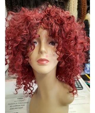 Peluca Roja rizada Sintética