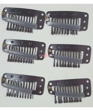 Clips 15ud Marrones 10 dientes