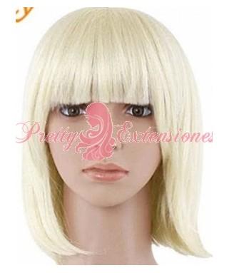Peluca rubia sintética con flequillo